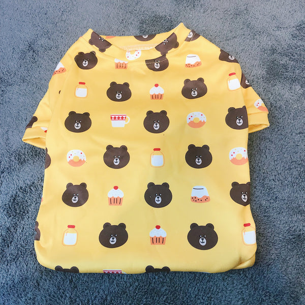 LINE Friends Style Yellow Bear Summer T-shirt Costume For Small Medium Dogs - Pawsmeme.com
