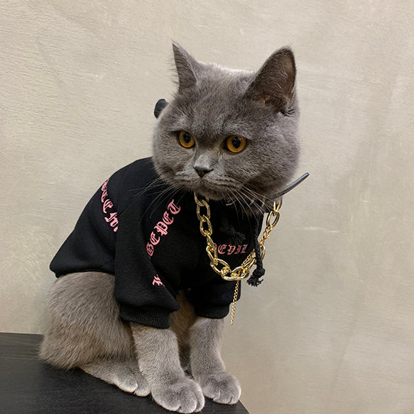 Chrome Hearts Style Woolen Devil Horn Sweater Costume For Small Medium Cats - Pawsmeme.com