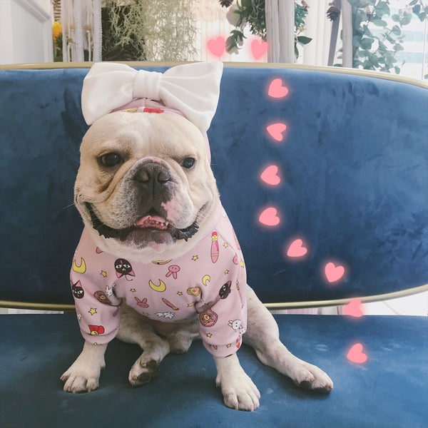 Sailor Moon Style Pink Ribbon Woolen Sweater Costume For Small Medium Dogs - Pawsmeme.com