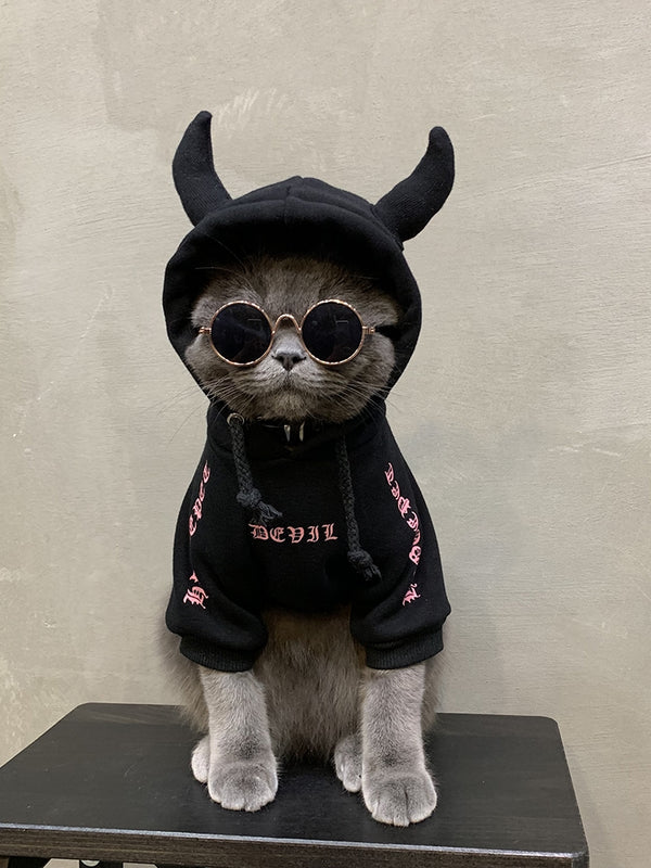 Chrome Hearts Style Woolen Devil Horn Sweater Costume For Small Medium Cats - Pawsmeme
