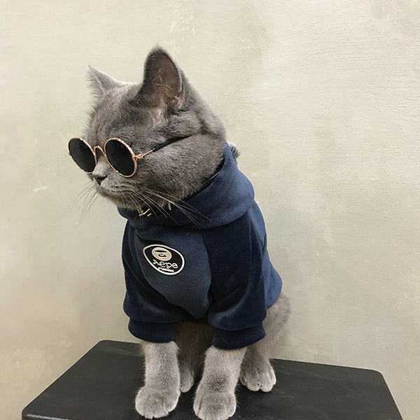 Aape Style Woolen Sweatshirt With Fur Ball Costume For Small Medium Cats - Pawsmeme.com