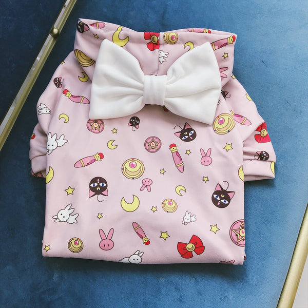 Sailor Moon Style Pink Ribbon Woolen Sweater Costume For Small Medium Dogs - Pawsmeme