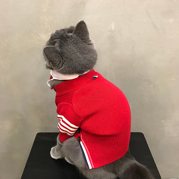 Thom Browne Style Red Knit Sweater With Tie Costume For Small Medium Cats - Pawsmeme