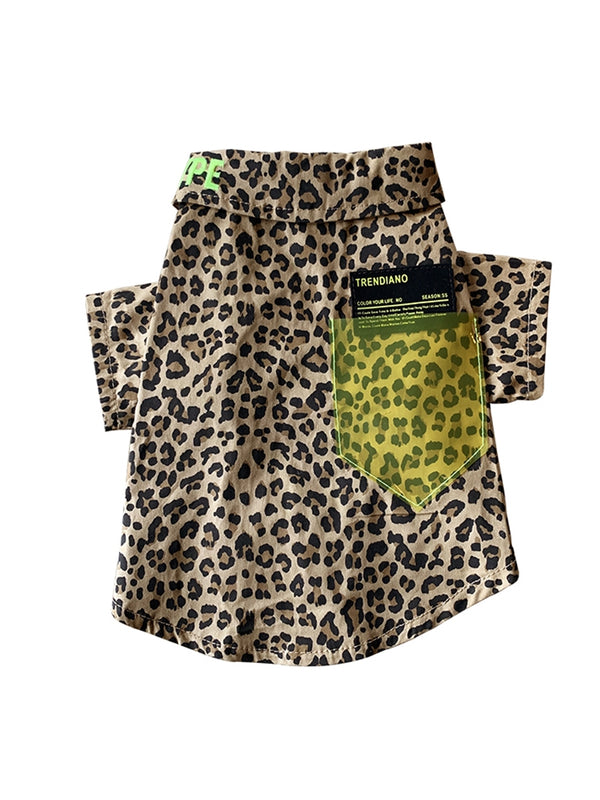 Leopard Print Street Style Summer Shirt Costume For Small Medium Cats - Pawsmeme.com