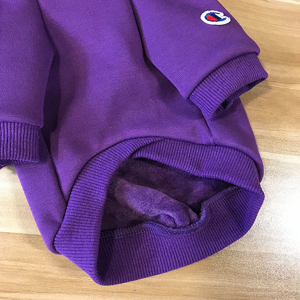 Champion Style Purple Woolen Street Hoodie Costume For Small Medium Cats - Pawsmeme.com
