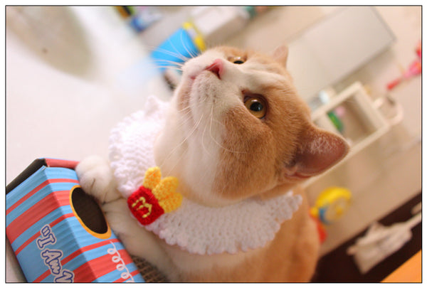 McDonald's French Fries Knit Handmade Adjustable Designer Pet Collar Costume Scarf Bandanas For Small Medium Cats - Pawsmeme.com