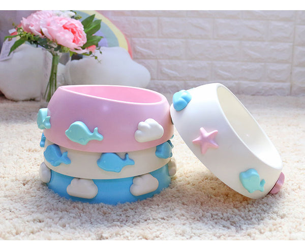 Cute Cloud Whale Tilt Opening Durable Raised Elevated Designer Pet Feeding Bowl For Small Medium Cats - Pawsmeme.com