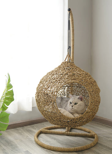 Swing Rattan Weaving Cushion Home Decor Summer Pet Bed For Small Medium Cats - Pawsmeme.com