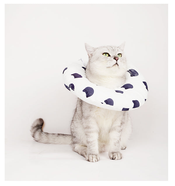 Donut Inflatable Soft Pet Recovery Cone After Surgery Protective Elizabethan E-Collar For Small Medium Large Cats - Pawsmeme.com