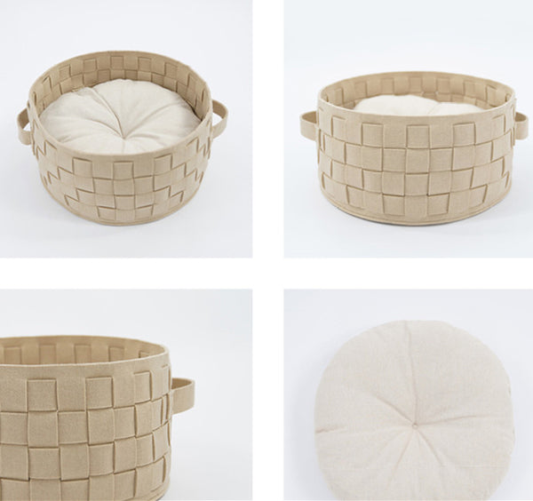 Felt Soft Cushion Round Weave Basket Pet Bed For Small Medium Cats - Pawsmeme.com
