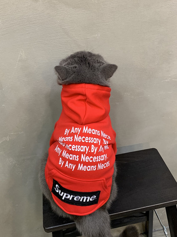 Supreme Style Red Woolen Street Words Print Hoodie Costume For Small Medium Cats - Pawsmeme
