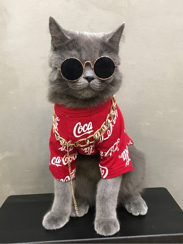Coca-Cola Style Red Black Summer Thin Shirt Costume For Small Medium Cats - Pawsmeme