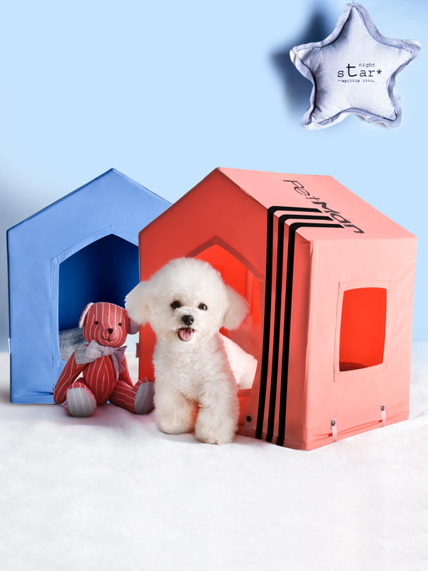 Candy Color Stripe Deep Sleep Cushion Indoor Pet House For Small Medium Dogs - Pawsmeme.com
