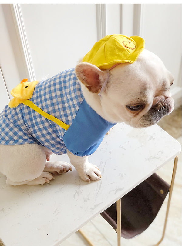 Cute Duck Kinder Garden Summer Cotton Shirt Uniform Costume with Hat For Small Medium Dogs - Pawsmeme.com