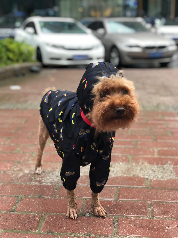 Cartoon Print Navy Hoodie Raincoat Leg Protection For Small Medium Large Dogs - Pawsmeme