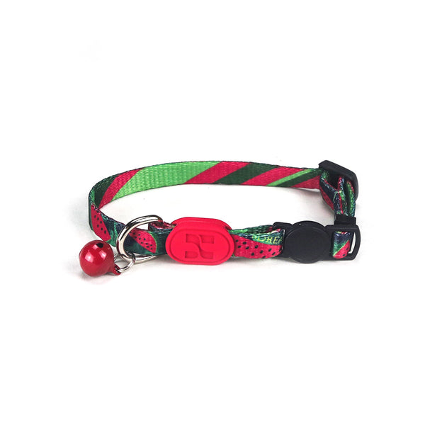Geometric Cotton Adjustable Safety Designer Pet Collar with Bell For Small Medium Cats