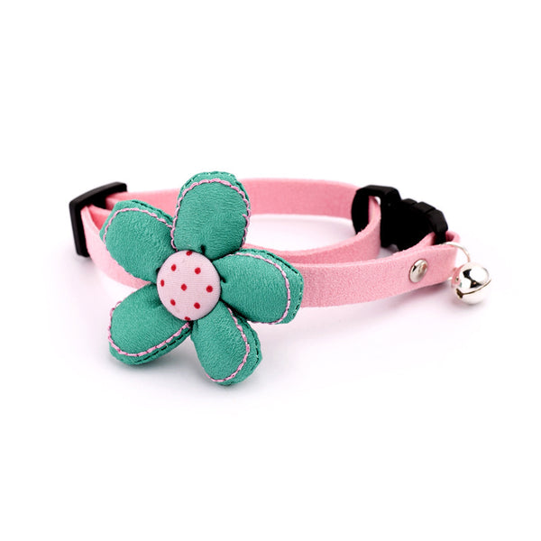 Cute Flower Handmade Adjustable Cotton Safety Designer Pet Collar with Bell For Small Medium Cats