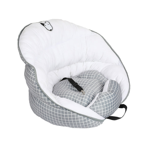 Cozy Plaid Warm Soft Waterproof Cushion Deluxe Portable Car Front & Back Seat Basket with Clip-On Safety Leash For Small Medium Dogs - Pawsmeme.com