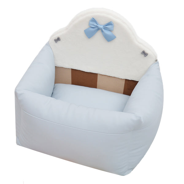 White Leather Soft Cushion Detachable Waterproof Princess Ribbon Deluxe Portable Car Front & Back Seat Basket For Small Medium Dogs - Pawsmeme.com