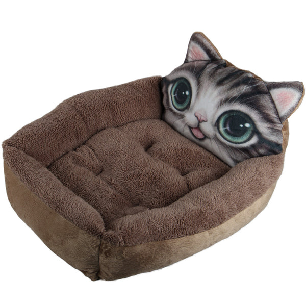 Cute Kitty Face Summer Cushion Soft Indoor Pet Bed For Small Medium Cats - Pawsmeme.com