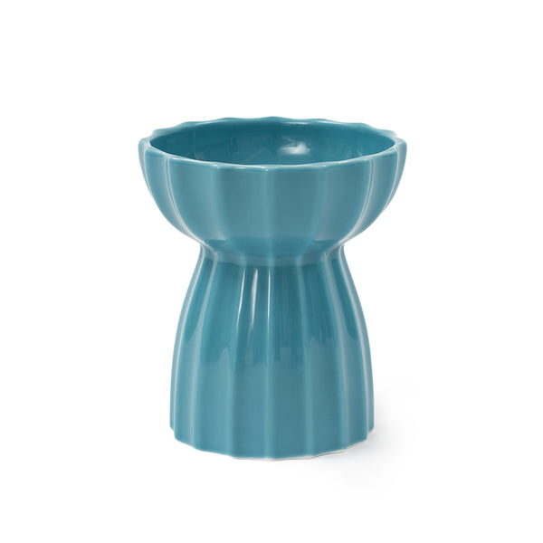 Quality Blue Ceramic Raised Elevated Easy Clean Designer Pet Feeding Bowl For Small Medium Cats - Pawsmeme.com
