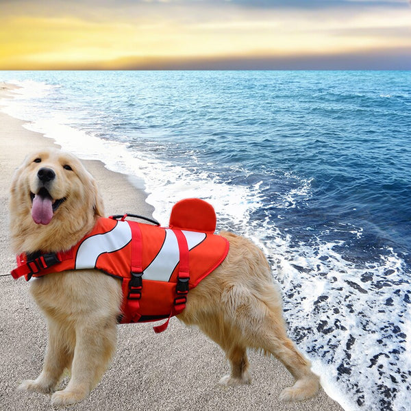 Bright Orange Adjustable Life Jacket Vest Saver Safety Swimsuit Preserver with Superior Buoyancy & Rescue Handle for Small Medium Large Dogs - Pawsmeme.com
