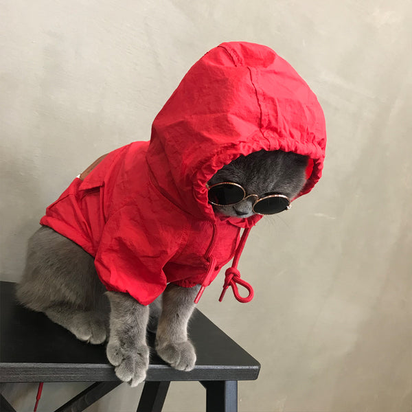 Stussy Style Red Black Lightweight Hoodie Costume For Small Medium Cats - Pawsmeme