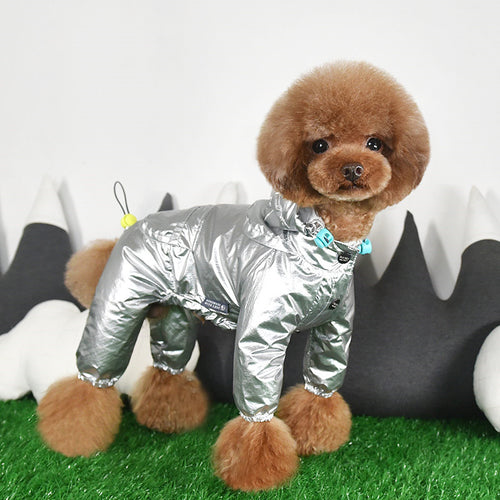 Space Astronaut Silver Hoodie Raincoat Leg Protection For Small Medium Dogs - Pawsmeme.com