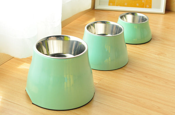 Stainless Steel Durable Raised Elevated Easy Clean Designer Pet Feeding Bowl For Small Medium Dogs - Pawsmeme.com