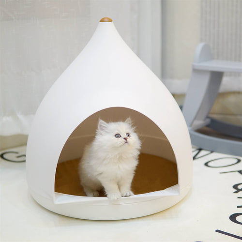 Modern White Cave Deep Sleep Indoor Pet Home Bed For Small Medium Cats - Pawsmeme.com