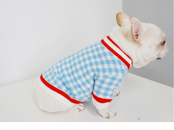 Cooling Blue Knit Sweater Designer Costume For Small Medium Dogs - Pawsmeme.com