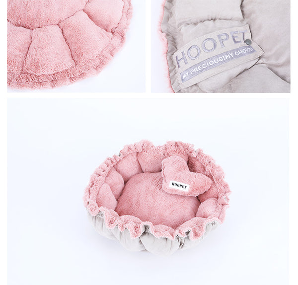 Cute Pink Heart Cushion Stretchable Petal Pet Bed For Small Medium Cats - Pawsmeme.com