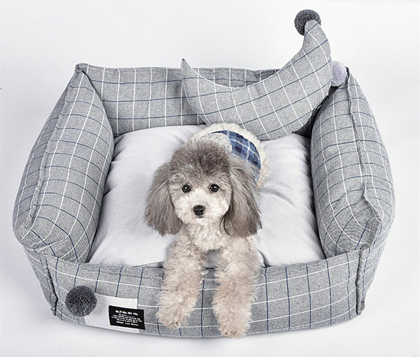 Plaid Soft Cushion Deep Sleep Indoor Pet Bed For Small Medium Large Dogs - Pawsmeme