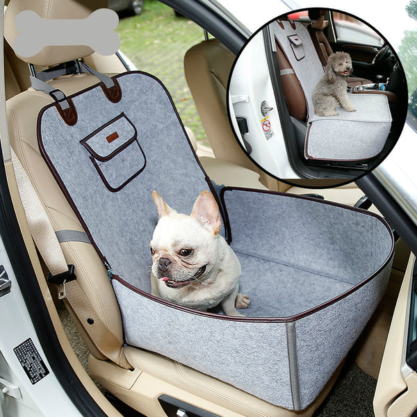 Felt Soft Washable Adjustable Portable Car Front & Back Seat Basket with Clip-On Safety Leash for Small Medium Dogs - Pawsmeme.com