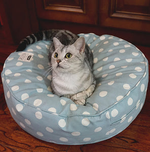 Blue Polka Dots Canvas Washable Cushion Indoor Pet Bed For Small Medium Cats - Pawsmeme.com