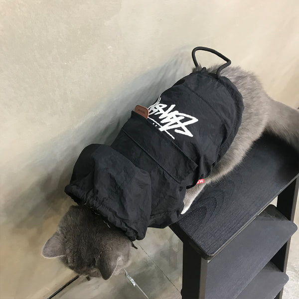 Stussy Style Red Black Lightweight Hoodie Costume For Small Medium Cats - Pawsmeme.com