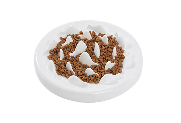 Ceramic Whale Interactive Slow Eating Anti-Gulping Designer Pet Feeding Bowl For Small Medium Cats - Pawsmeme.com