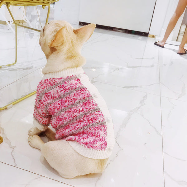 Glitter Fall Winter Warm Knit Sweater Designer Costume For Small Medium Dogs - Pawsmeme.com
