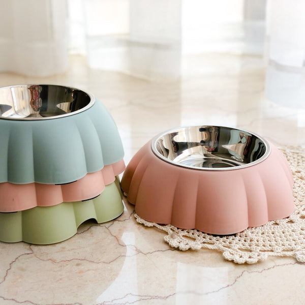 MORE COLORS Shell Stainless Steel Easy Clean Designer Pet Feeding Bowl For Small Medium Cats - Pawsmeme.com