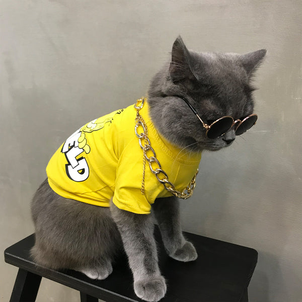 Garfield Style Yellow Summer T-shirt Costume For Small Medium Cats - Pawsmeme