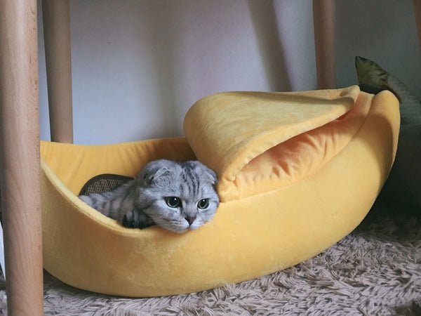 Banana Soft Cushion Deep Sleep Indoor Cat Bed For Small Medium Cats - Pawsmeme.com