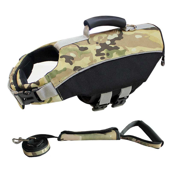 Camouflage Adjustable Windproof Jacket Life Vest Saver Safety Swimsuit Preserver with Superior Buoyancy & Rescue Handle for Medium Large Dogs - Pawsmeme.com