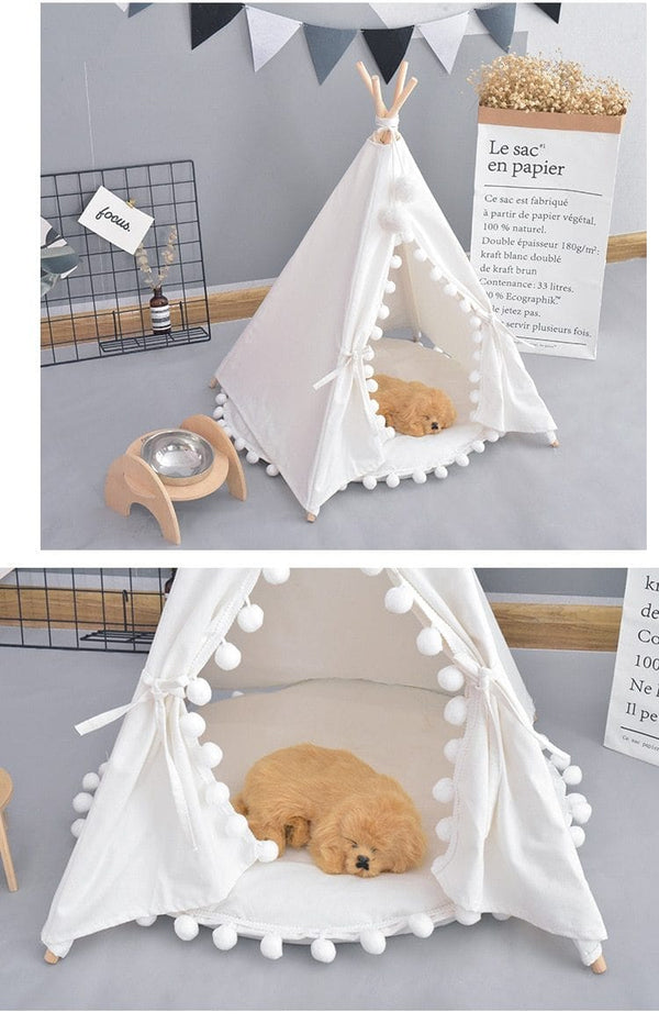 Bohemian Pet 100% Cotton Canvas Tent Cozy Portable Dog Cat Teepee Home MORE COLOR - Pawsmeme