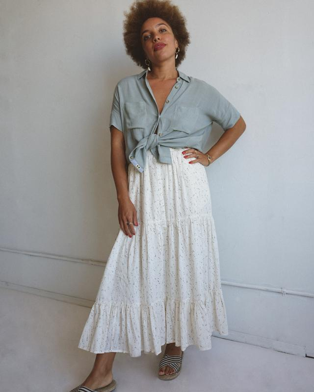 Sage Camp Shirt + Harper Sonnet Skirt