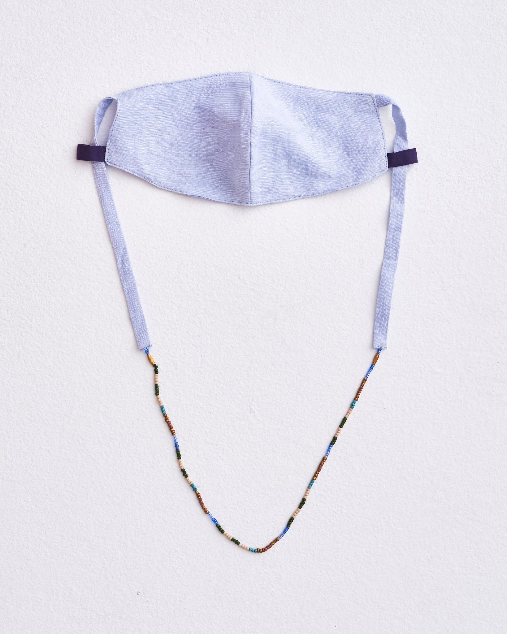 Linen Mask with Beaded Chain Necklace