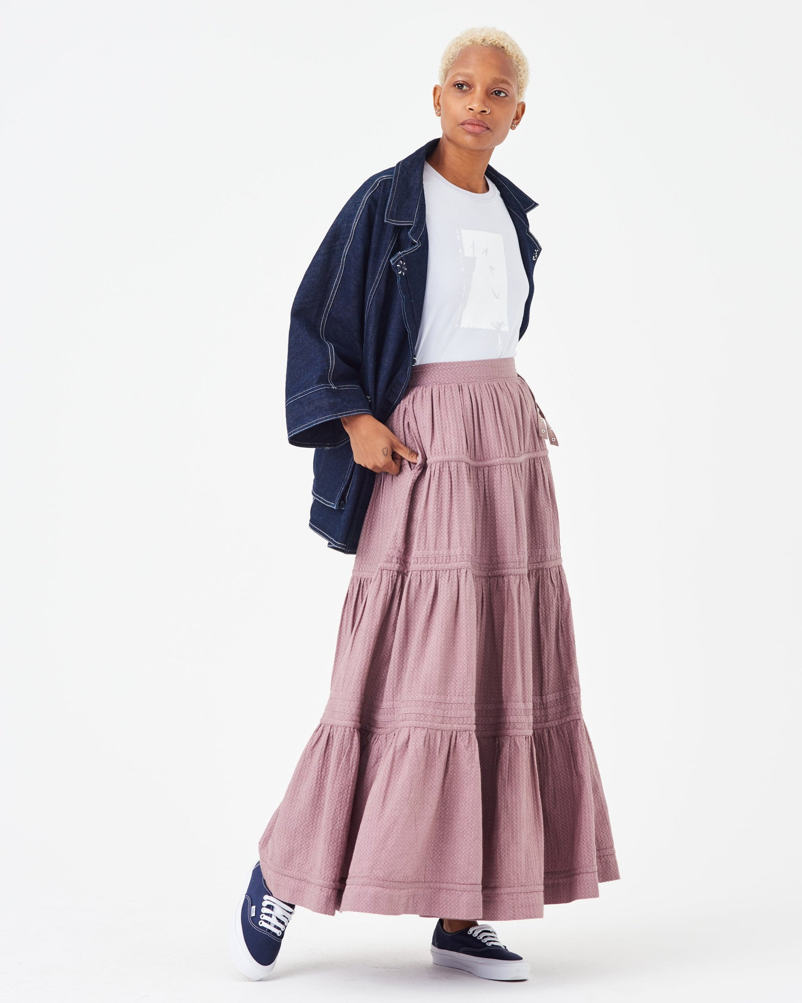Sage Transitional Jacket + Harper Clarity Skirt