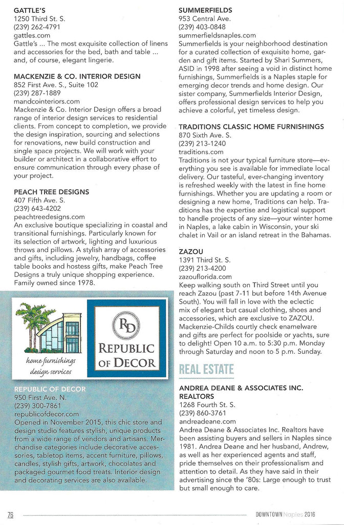 2016 Downtown Naples Guide Feature