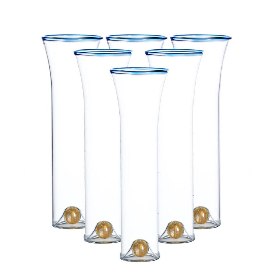 Blue Rim/Gold Ball Flutes