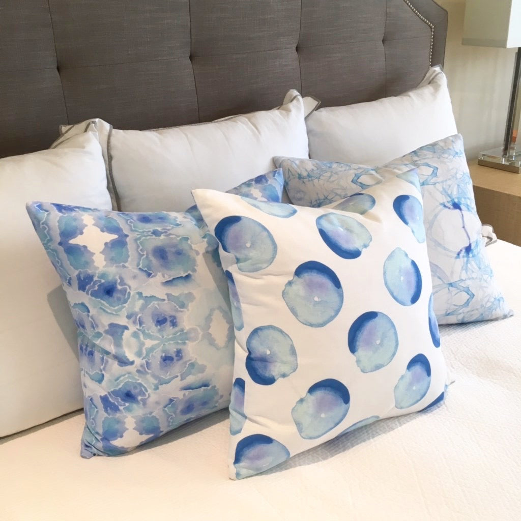 Blue Watercolor Sketch Pillow