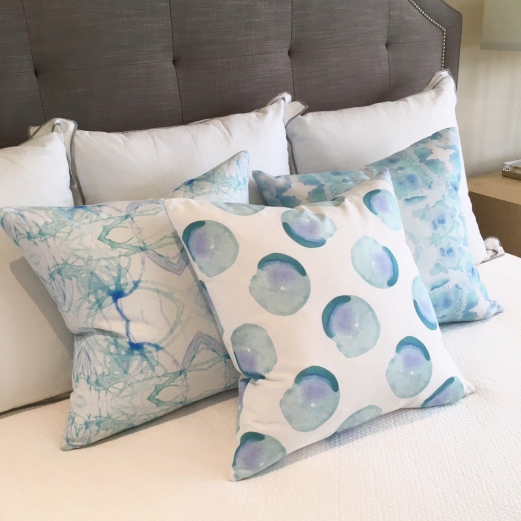 Aqua Splatter Quadrant Pillow